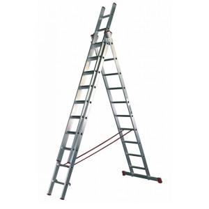 Escalera industrial de aluminio de 3 tramos x 14 Peldaños cada tramo.
