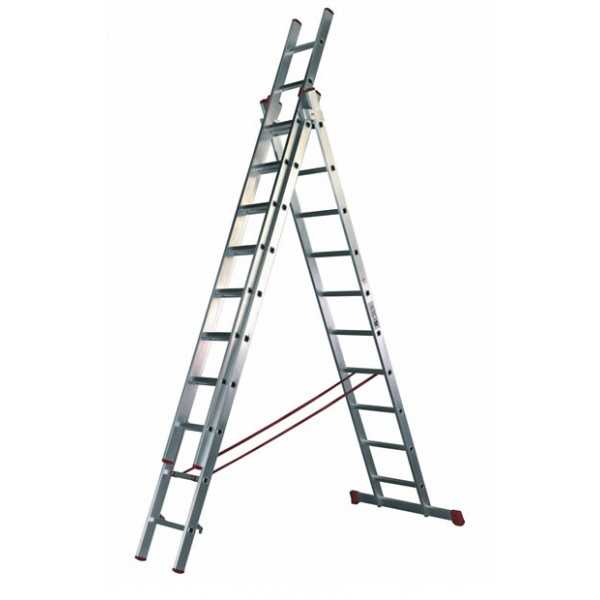 Escalera industrial de aluminio de 3 tramos x 14 pelda os for Escaleras tres tramos
