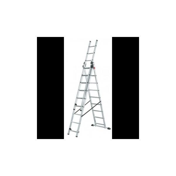 Escalera de aluminio de 3 tramos x 9 pelda os rolser for Escaleras 9 peldanos