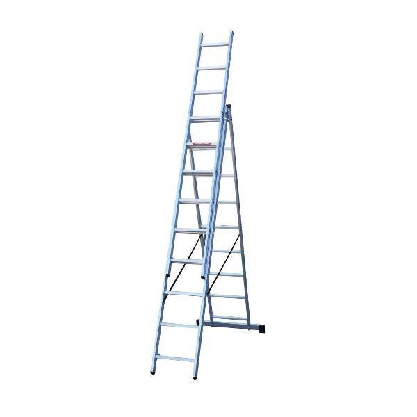 Escalera de aluminio de 3 tramos x 9 pelda os ferral for Escaleras ferral