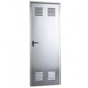 Puerta metálica galvanizada de 790x2000 con ventilación.